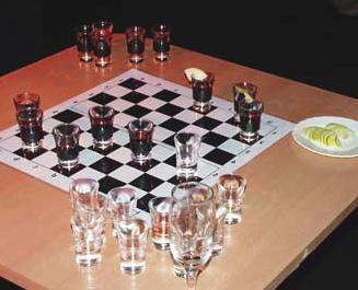 Как выиграть в шашки рюмками?